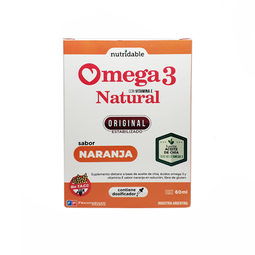 Omega 3 Natural En Gotas Naranja- Aceite De Chía Y Vit. E- 60ml Pack X24