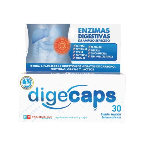 Digecaps Enzimas Digestivas Original x30 Capsulas Pack x12