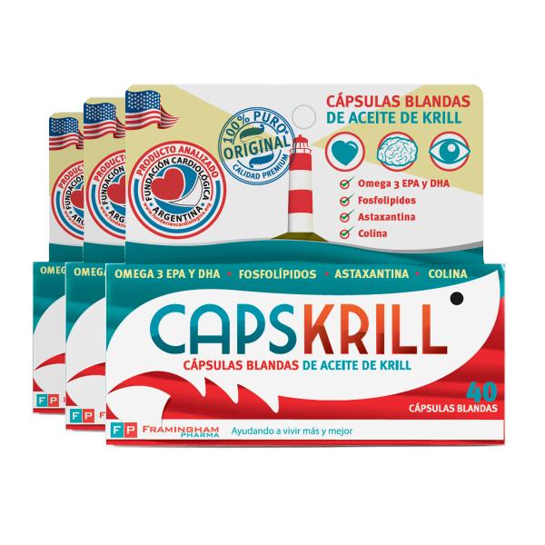 Combo CapsKrill 120 capsulas blandas (40 capsulas x 3)