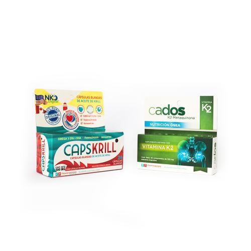 Combo Huesos y Corazon - Cados Vit k2 30 comprimidos + CapsKrill 40 capsulas de krill