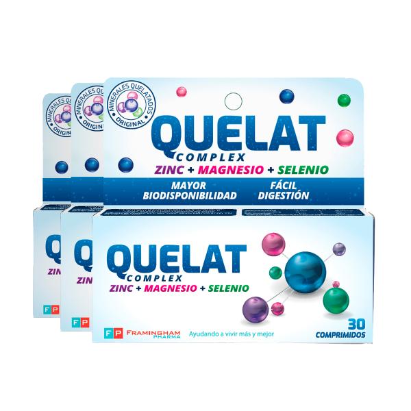 Quelat Complex 3 cajas x 30 comprimidos c/u (90 comprimidos total)