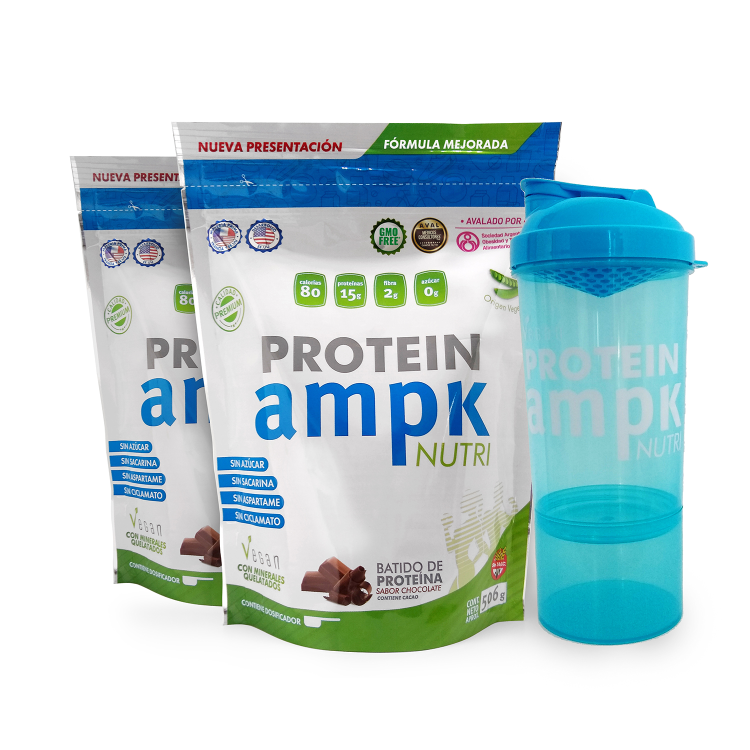 AMPK Protein Chocolate Combo x 2 + Shaker Azul